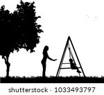 mother swinging child on a... | Shutterstock .eps vector #1033493797