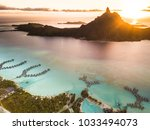 aerial view of bora bora with ... | Shutterstock . vector #1033494073