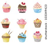 Cute cupcake with 9 different look, design by vector - stock vector