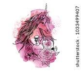 unicorn. hand drawn vector... | Shutterstock .eps vector #1033499407