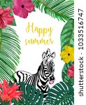 floral and animal card with... | Shutterstock .eps vector #1033516747