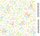 seamless easter decorations... | Shutterstock . vector #1033524523