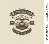 forest camping logo emblem... | Shutterstock .eps vector #1033524793