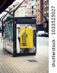 advertising billboard on bus... | Shutterstock . vector #1033525027