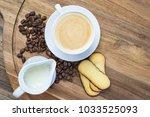 coffee  milk and cookies   Shutterstock . vector #1033525093