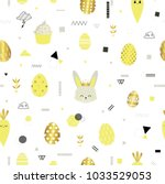 easter. seamless pattern with... | Shutterstock .eps vector #1033529053