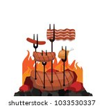grilled barbecue beef steak... | Shutterstock .eps vector #1033530337