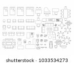 top view of set furniture... | Shutterstock .eps vector #1033534273