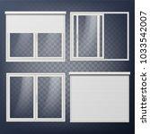 plastic door vector. sliding.... | Shutterstock .eps vector #1033542007
