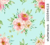 watercolor floral background... | Shutterstock . vector #1033544113