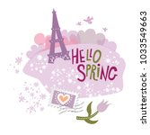 hello spring lettering and... | Shutterstock .eps vector #1033549663