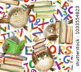 back to school seamless pattern.... | Shutterstock . vector #1033554823