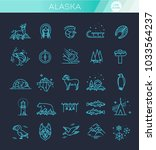 thin line arctic icons set ... | Shutterstock .eps vector #1033564237