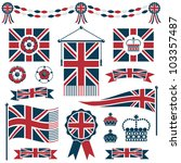 set of red and blue uk flags ... | Shutterstock .eps vector #103357487