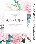 floral wedding invitation... | Shutterstock .eps vector #1033579147