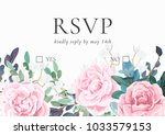 floral wedding invitation with... | Shutterstock .eps vector #1033579153