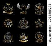 pentagonal stars emblems set.... | Shutterstock .eps vector #1033585273