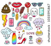 colorful doodle icons set. hand ... | Shutterstock .eps vector #1033591867