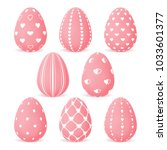 set of easter eggs with pink... | Shutterstock .eps vector #1033601377