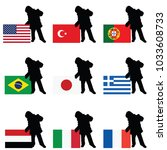 child silhouette with world... | Shutterstock .eps vector #1033608733