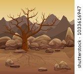 cartoon dry stone desert... | Shutterstock .eps vector #1033616947