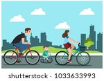 father  mother and son riding... | Shutterstock .eps vector #1033633993