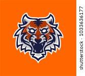 tiger mascot logo template for... | Shutterstock .eps vector #1033636177