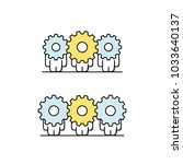 funny cute men with gear wheels ... | Shutterstock .eps vector #1033640137