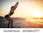 slim sporty young woman... | Shutterstock . vector #1033641577