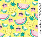 seamless yellow pineapple melon ... | Shutterstock .eps vector #1033666063