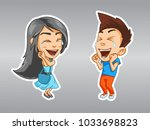 girl and boy are very happy ... | Shutterstock .eps vector #1033698823