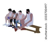 the basketball team is sitting... | Shutterstock .eps vector #1033700497