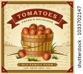 retro tomato harvest label with ...   Shutterstock .eps vector #1033702147