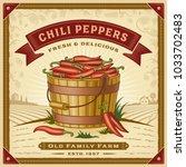 retro chili pepper harvest... | Shutterstock .eps vector #1033702483