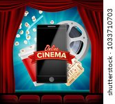 online cinema banner vector.... | Shutterstock .eps vector #1033710703