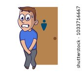 stressed boy wanting to pee... | Shutterstock .eps vector #1033716667