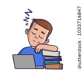 sleepy boy with closed eyes in... | Shutterstock .eps vector #1033716847