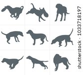 vector dogs silhouettes. set of ... | Shutterstock .eps vector #1033718197