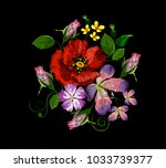 embroidery of violets  lilies ... | Shutterstock .eps vector #1033739377