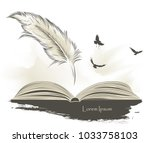 writing old feather paint with... | Shutterstock .eps vector #1033758103