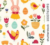 seamless pattern with cute... | Shutterstock .eps vector #1033761493