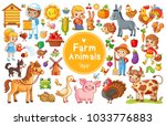 Set with farm animals. Vector collection in a cartoon children
