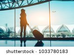 silhouette woman travel with...   Shutterstock . vector #1033780183