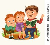 dad read book for childrens in... | Shutterstock .eps vector #1033783417