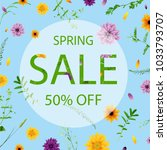 sale banner with flowers | Shutterstock .eps vector #1033793707