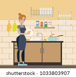 woman at wash room washing the... | Shutterstock .eps vector #1033803907