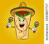 burrito in mexican hat sombrero ...   Shutterstock . vector #1033807717
