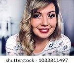 portrait of beautiful smiling... | Shutterstock . vector #1033811497