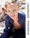 portrait of adolescent young... | Shutterstock . vector #1033825957