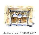 hand painted watercolor sketch... | Shutterstock . vector #1033829437